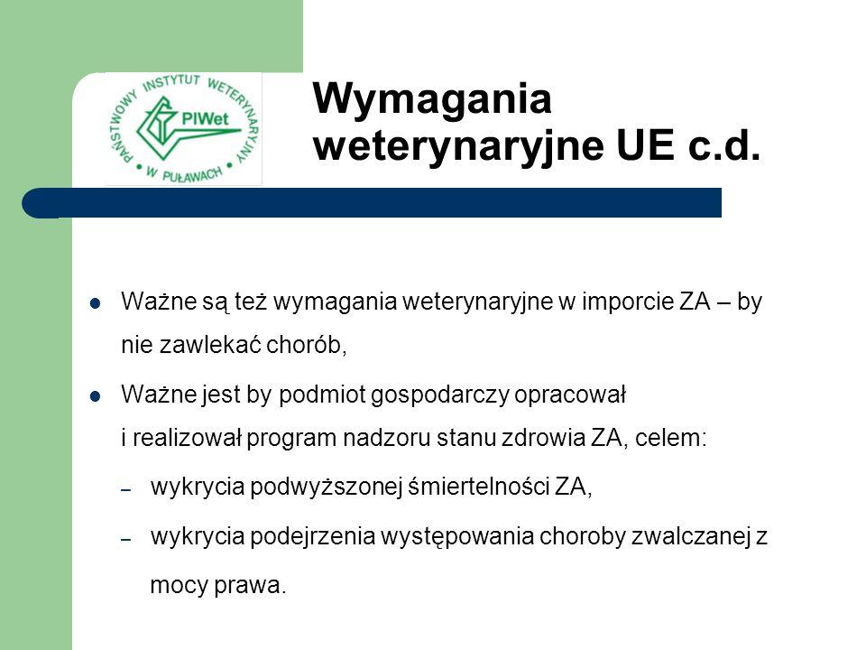 Wymagania weterynaryjne UE c.d.