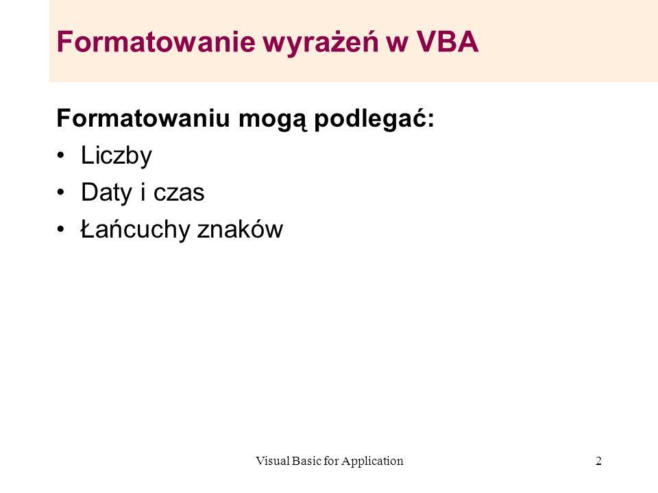 Formatowanie wyrażeń w VBA
