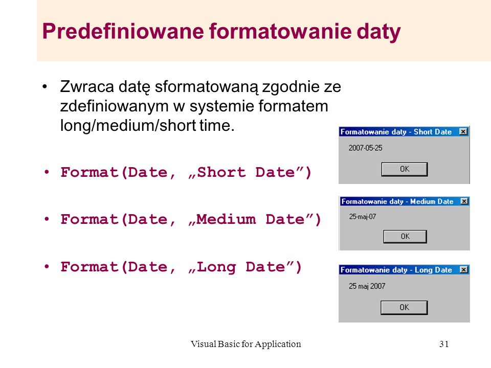 Predefiniowane formatowanie daty