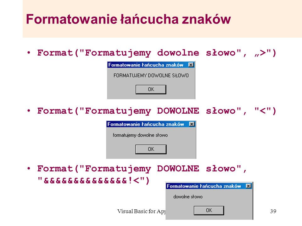Formatowanie łańcucha znaków