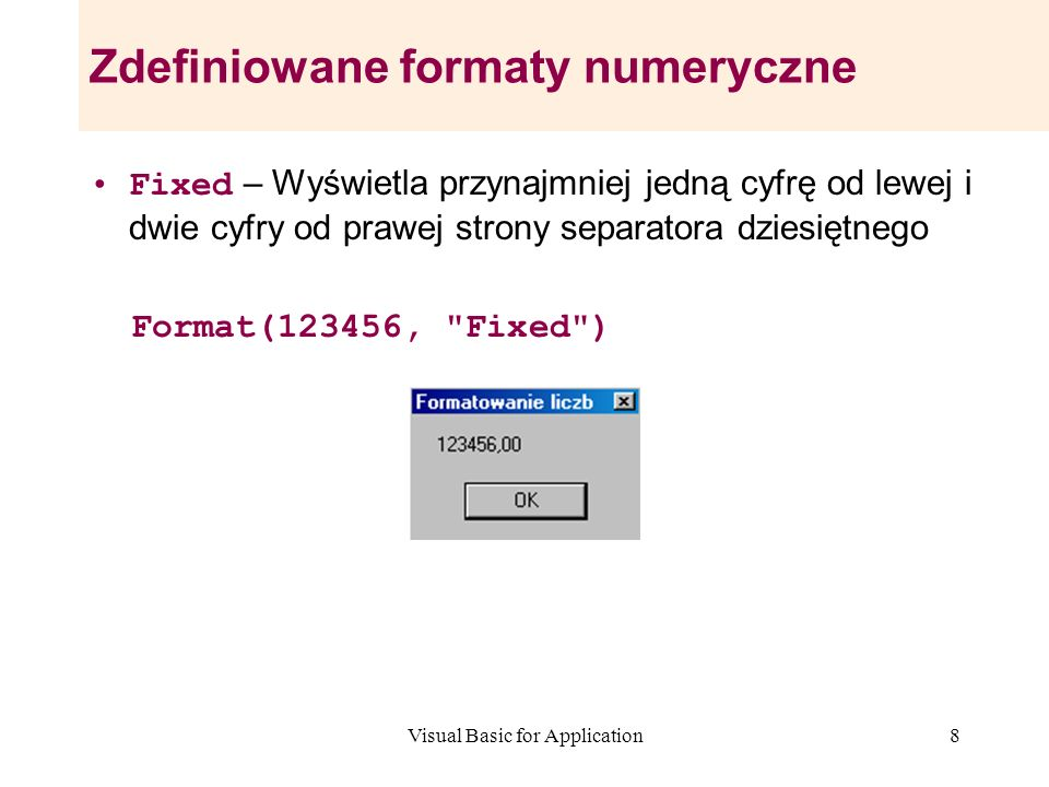 Zdefiniowane formaty numeryczne