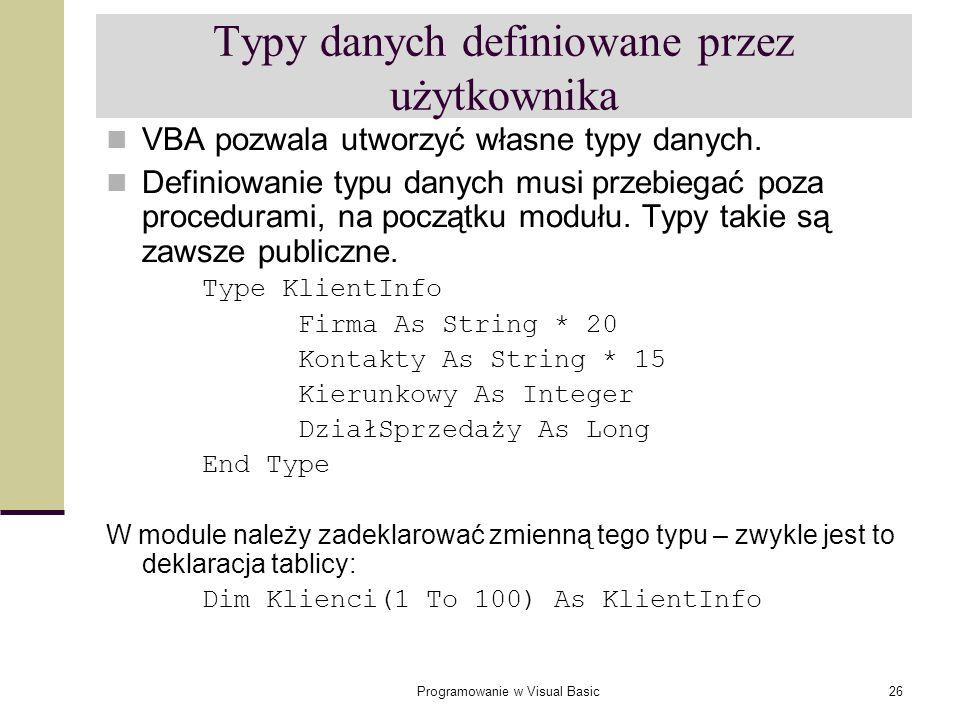 Typy danych definiowane przez użytkownika