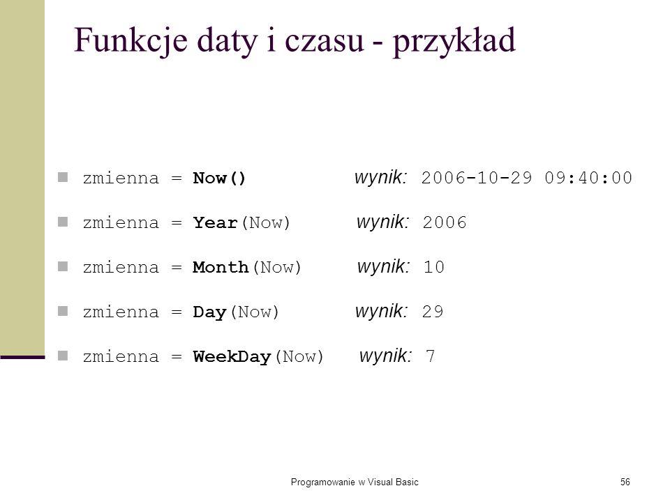 Funkcje daty i czasu - przykład
