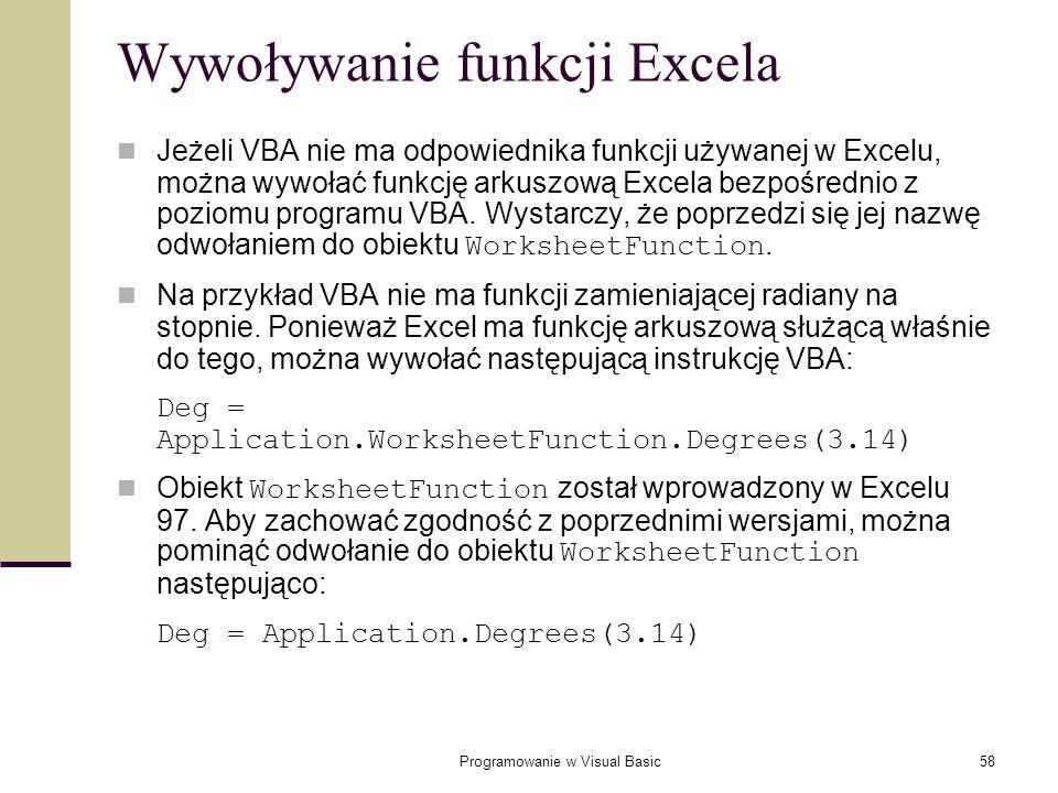 Wywoływanie funkcji Excela