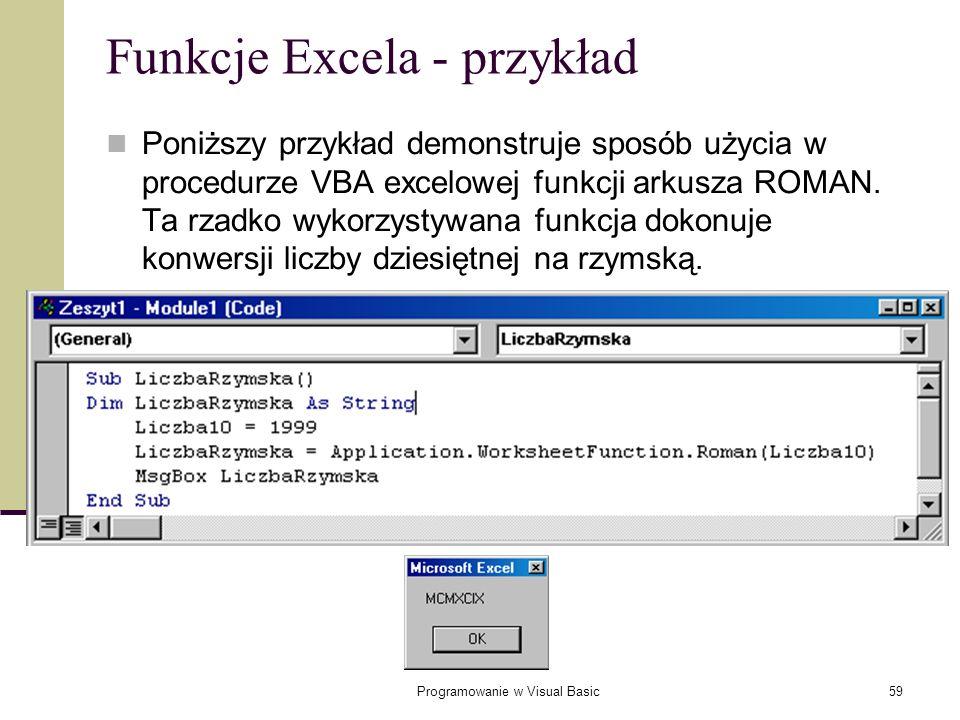 Funkcje Excela - przykład