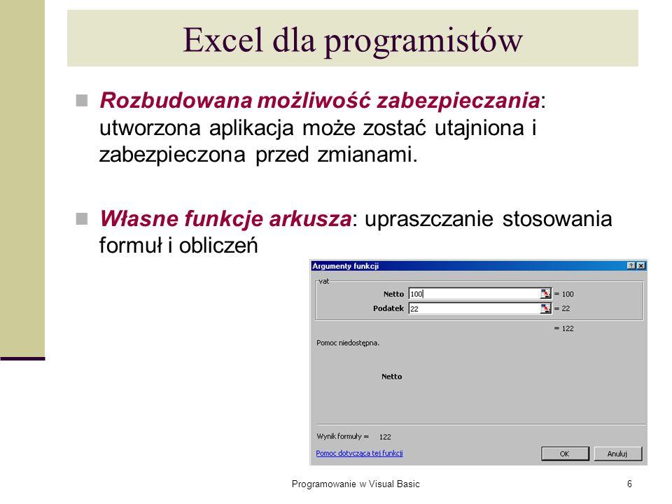 Excel dla programistów