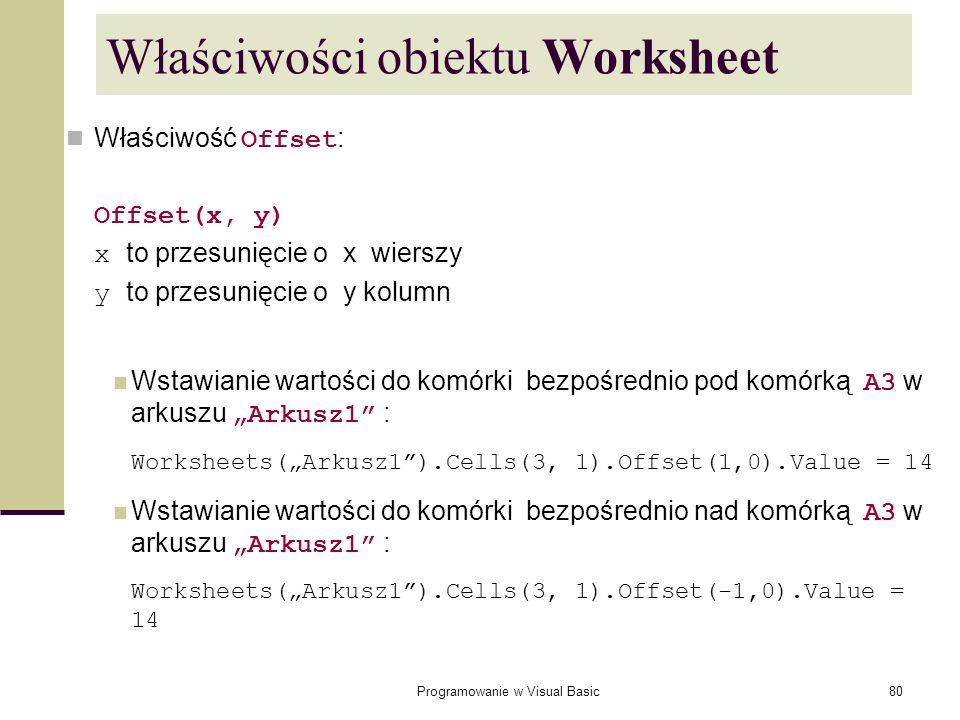 Właściwości obiektu Worksheet