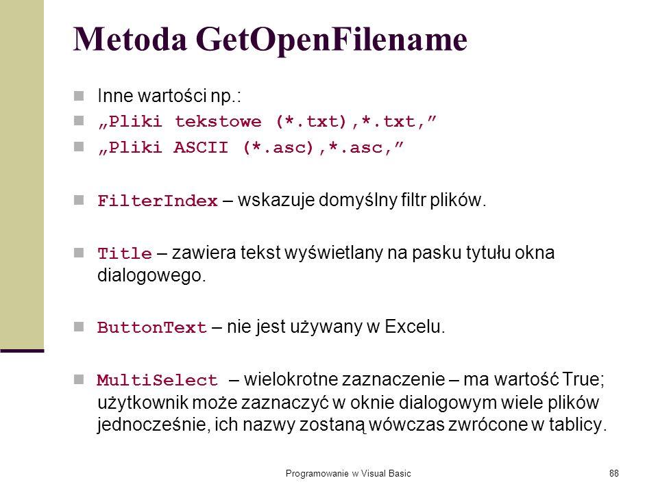 Metoda GetOpenFilename