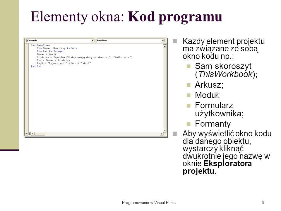 Elementy okna: Kod programu