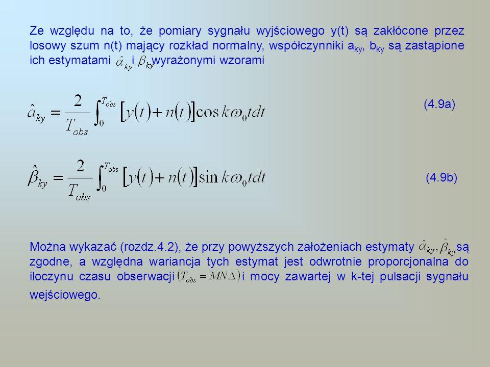 Ze względu na to, że pomiary sygnału wyjściowego y(t) są zakłócone przez losowy szum n(t) mający rozkład normalny, współczynniki aky, bky są zastąpione ich estymatami i wyrażonymi wzorami