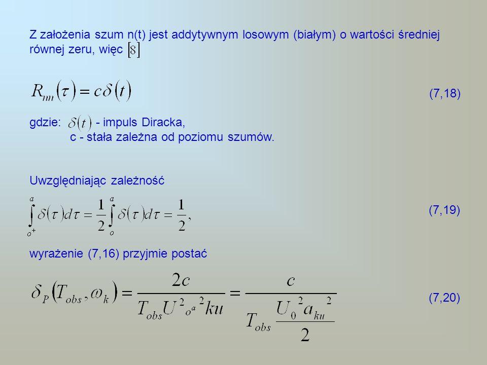 Z założenia szum n(t) jest addytywnym losowym (białym) o wartości średniej równej zeru, więc