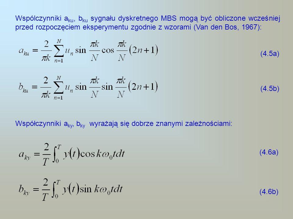 Wspólczynniki aku, bku sygnału dyskretnego MBS mogą być obliczone wcześniej przed rozpoczęciem eksperymentu zgodnie z wzorami (Van den Bos, 1967):