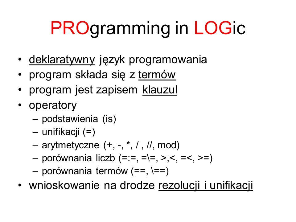 PROgramming in LOGic deklaratywny język programowania