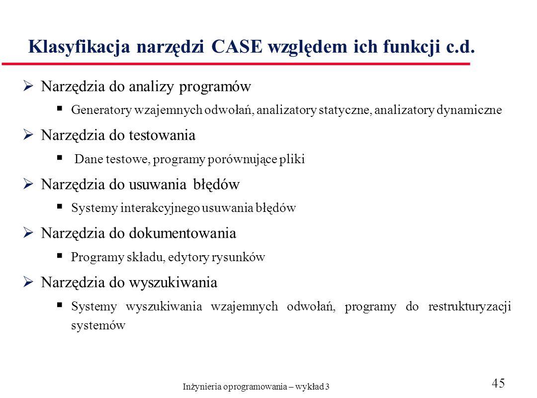 Klasyfikacja narzędzi CASE względem ich funkcji c.d.