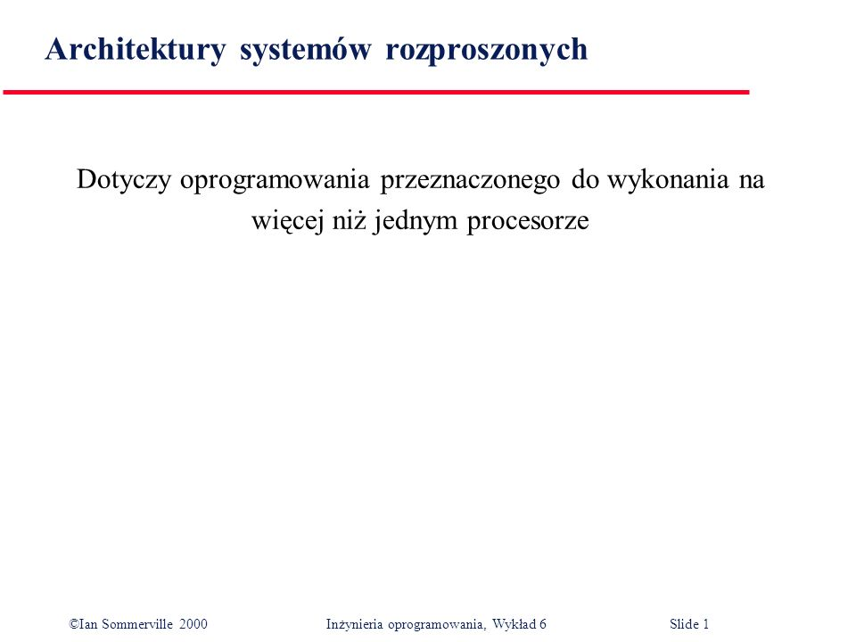 Architektury systemów rozproszonych