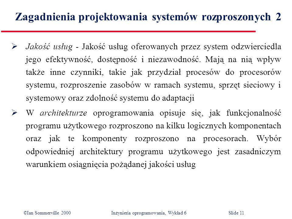 Zagadnienia projektowania systemów rozproszonych 2