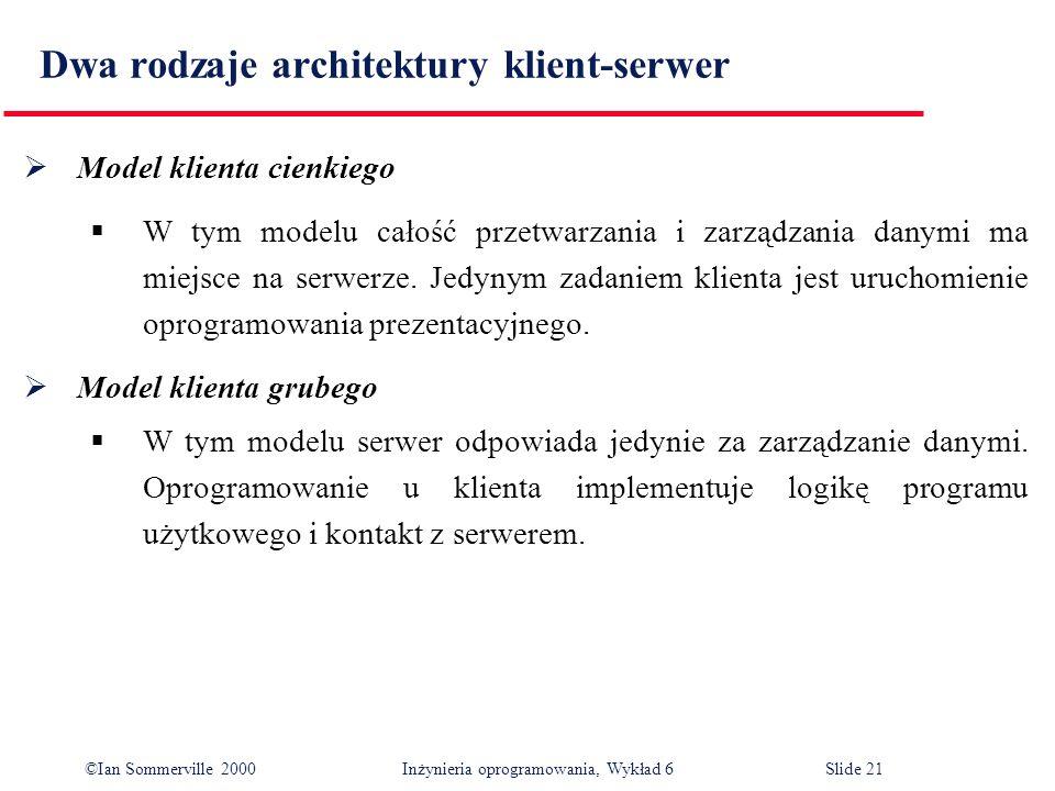Dwa rodzaje architektury klient-serwer