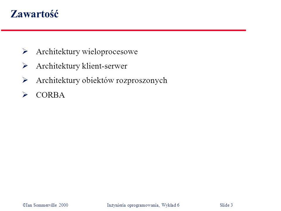 Zawartość Architektury wieloprocesowe Architektury klient-serwer