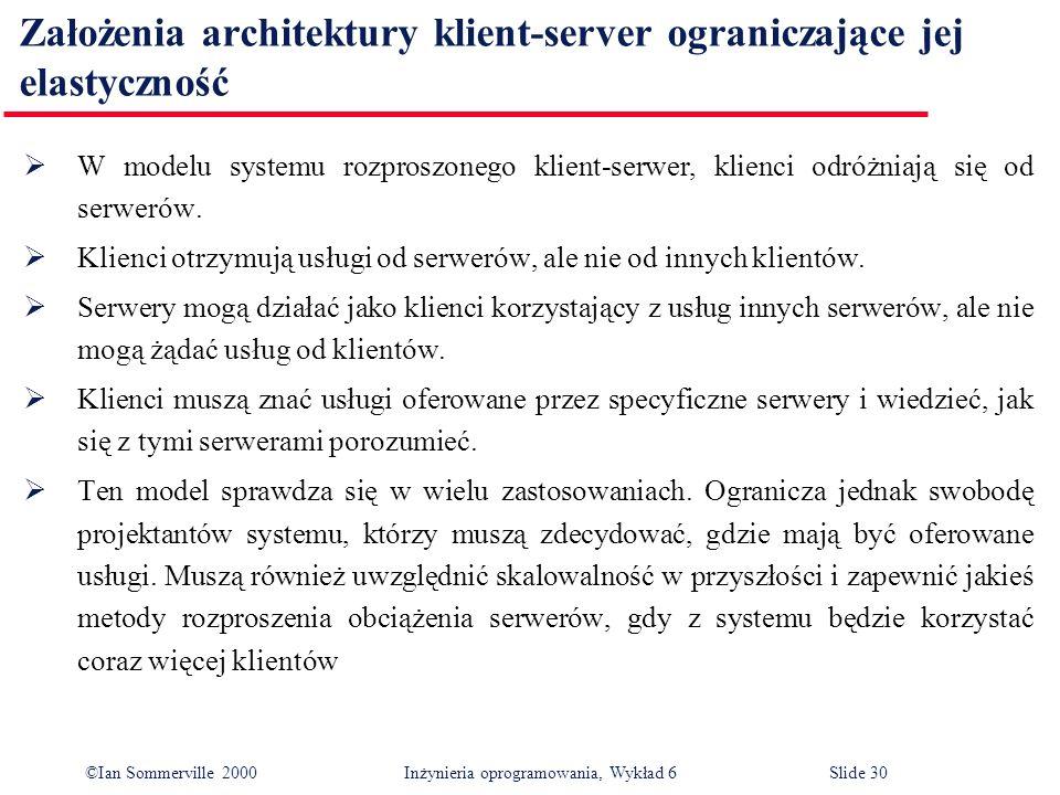 Założenia architektury klient-server ograniczające jej elastyczność