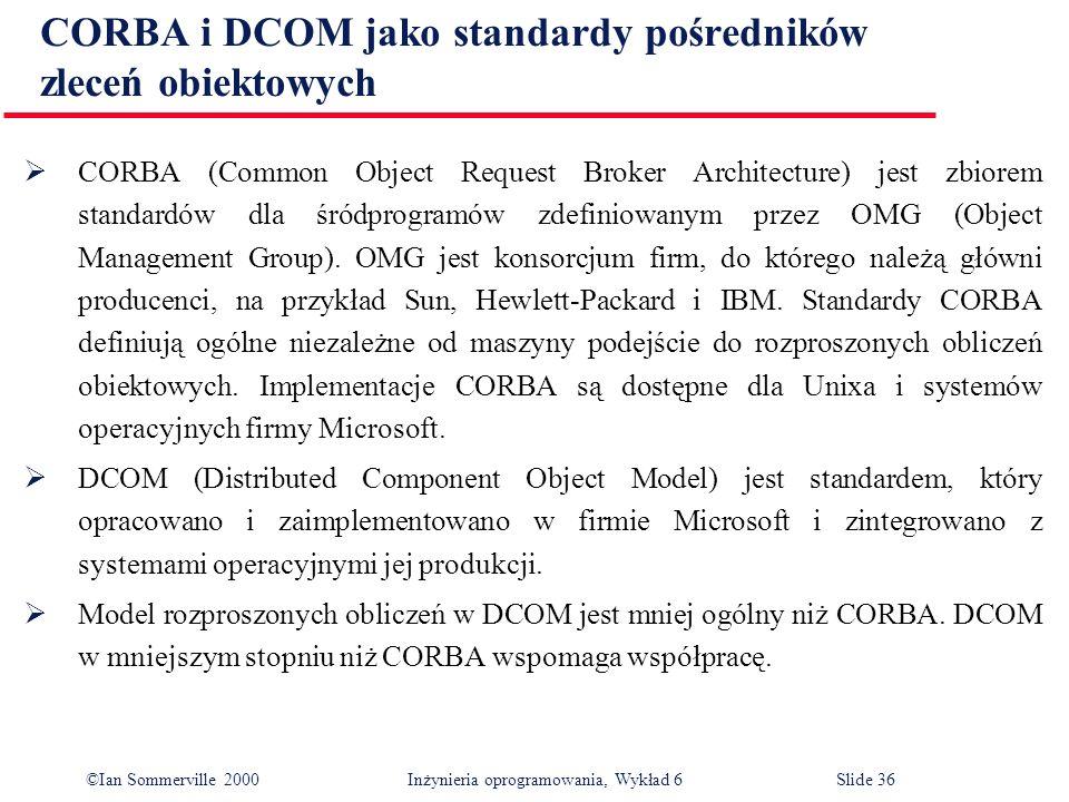 CORBA i DCOM jako standardy pośredników zleceń obiektowych
