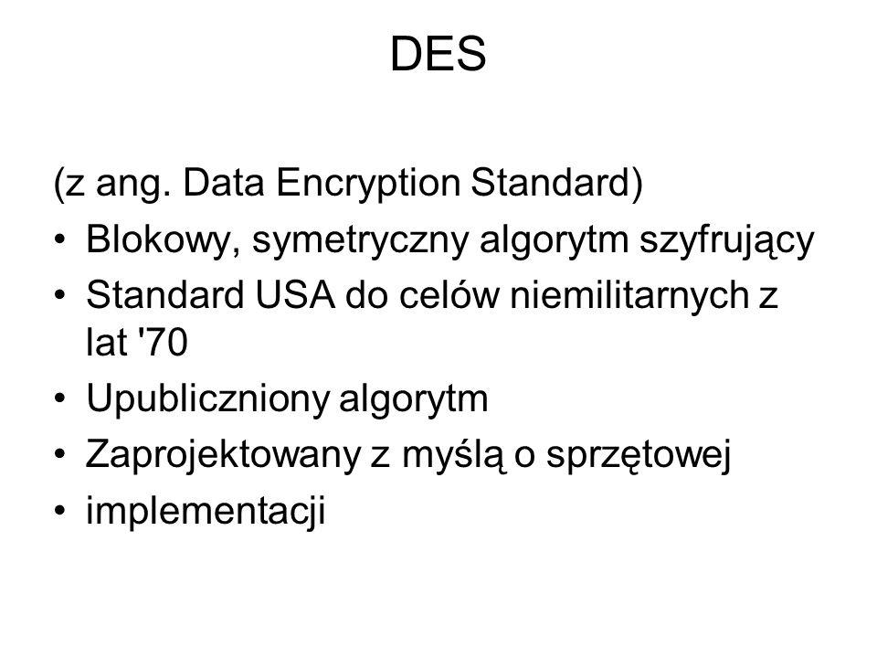 DES (z ang. Data Encryption Standard)