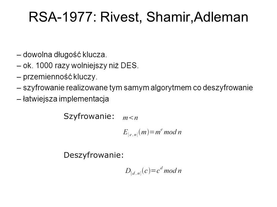 RSA-1977: Rivest, Shamir,Adleman