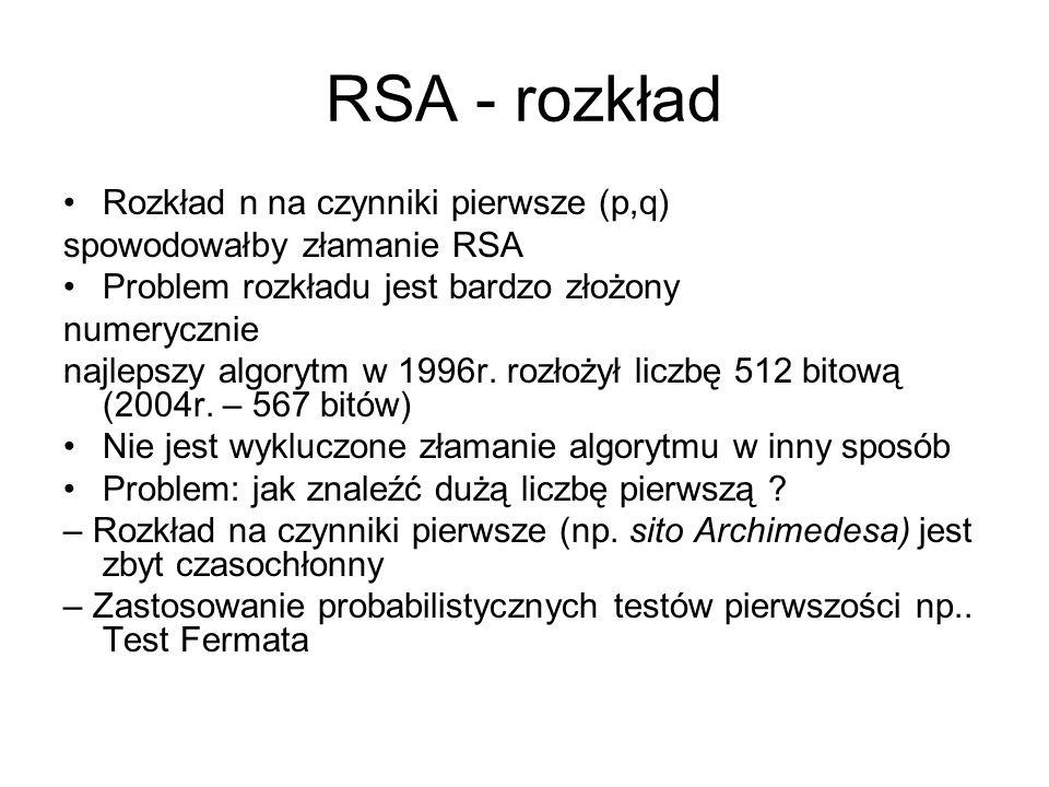 RSA - rozkład Rozkład n na czynniki pierwsze (p,q)
