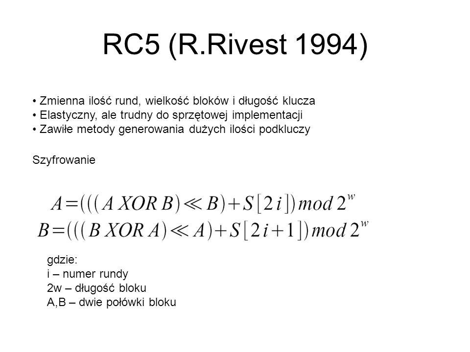 RC5 (R.Rivest 1994) Zmienna ilość rund, wielkość bloków i długość klucza. Elastyczny, ale trudny do sprzętowej implementacji.