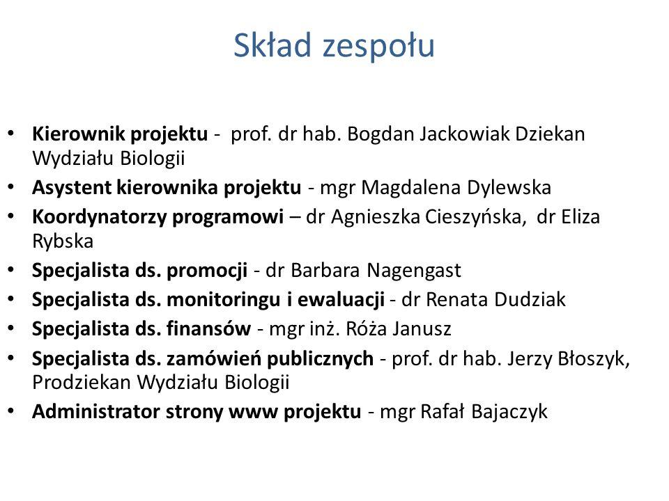 Skład zespołu Kierownik projektu - prof. dr hab. Bogdan Jackowiak Dziekan Wydziału Biologii. Asystent kierownika projektu - mgr Magdalena Dylewska.