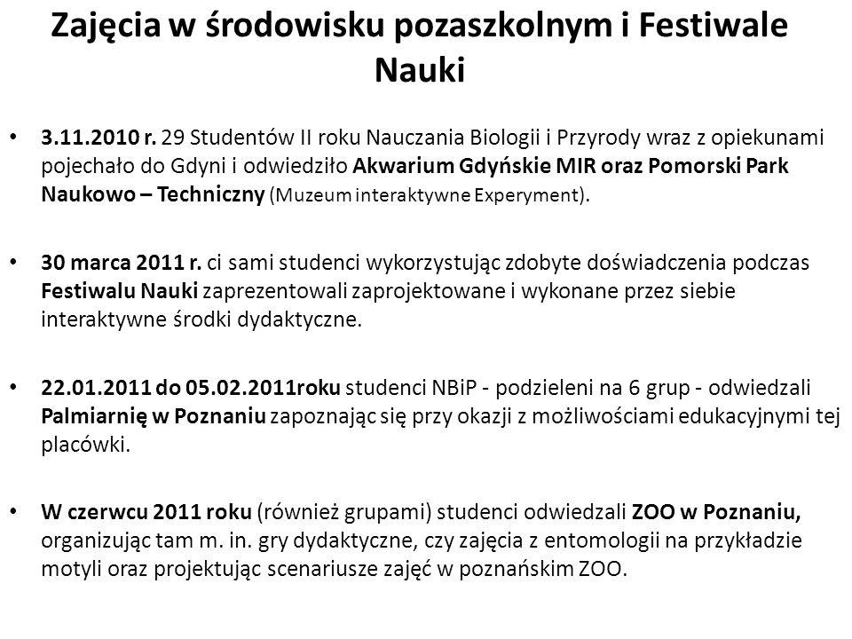 Zajęcia w środowisku pozaszkolnym i Festiwale Nauki