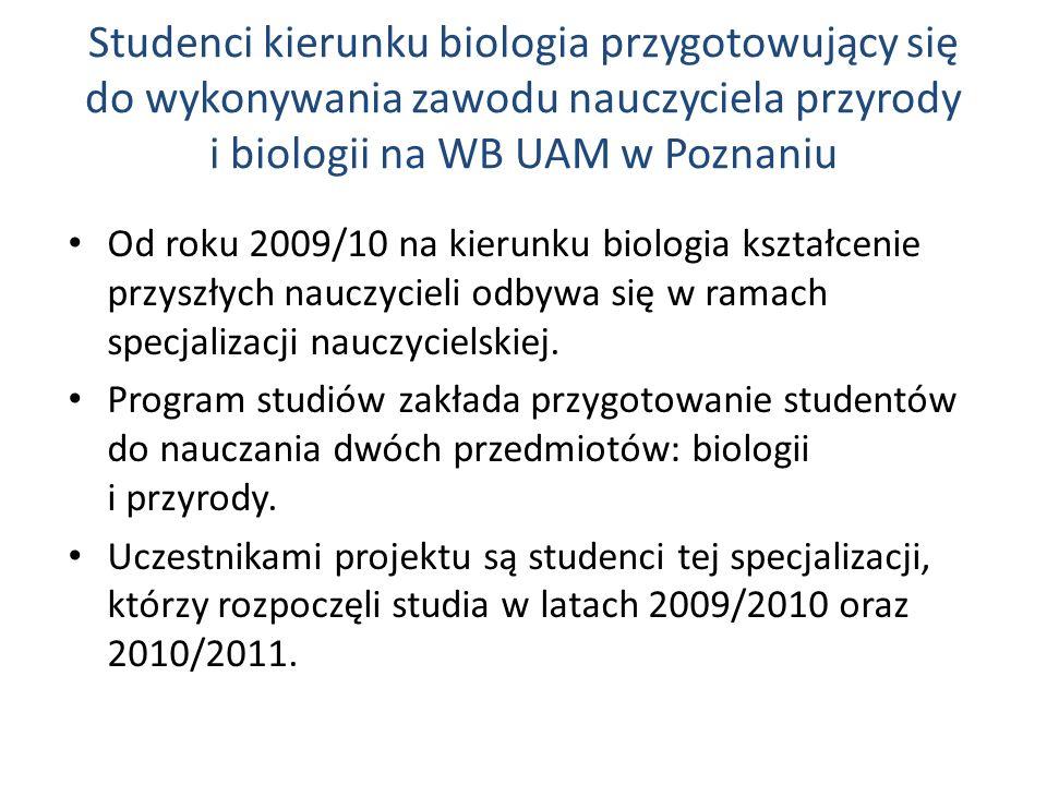 Studenci kierunku biologia przygotowujący się do wykonywania zawodu nauczyciela przyrody i biologii na WB UAM w Poznaniu