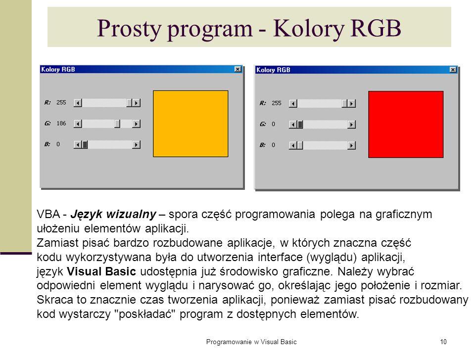 Prosty program - Kolory RGB