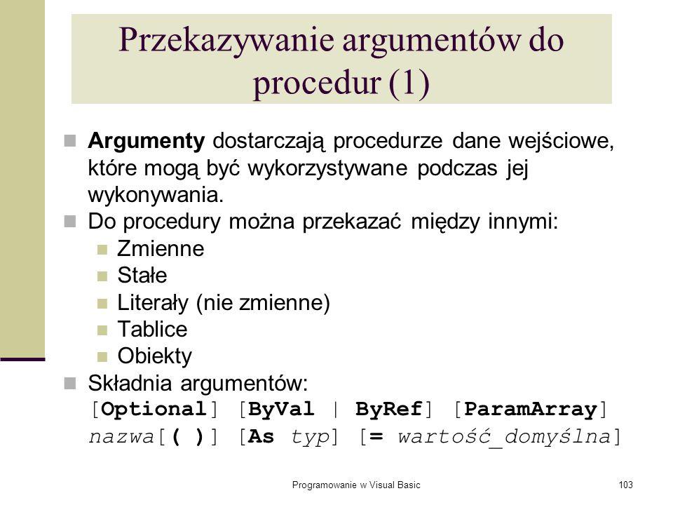 Przekazywanie argumentów do procedur (1)