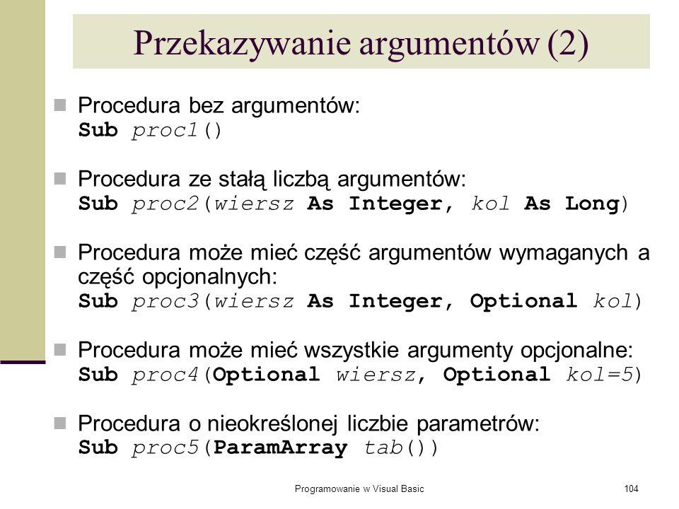 Przekazywanie argumentów (2)