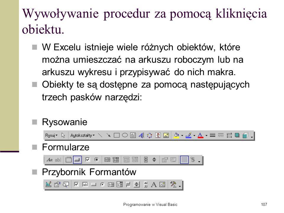 Wywoływanie procedur za pomocą kliknięcia obiektu.