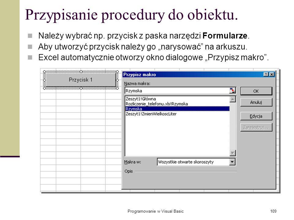Przypisanie procedury do obiektu.