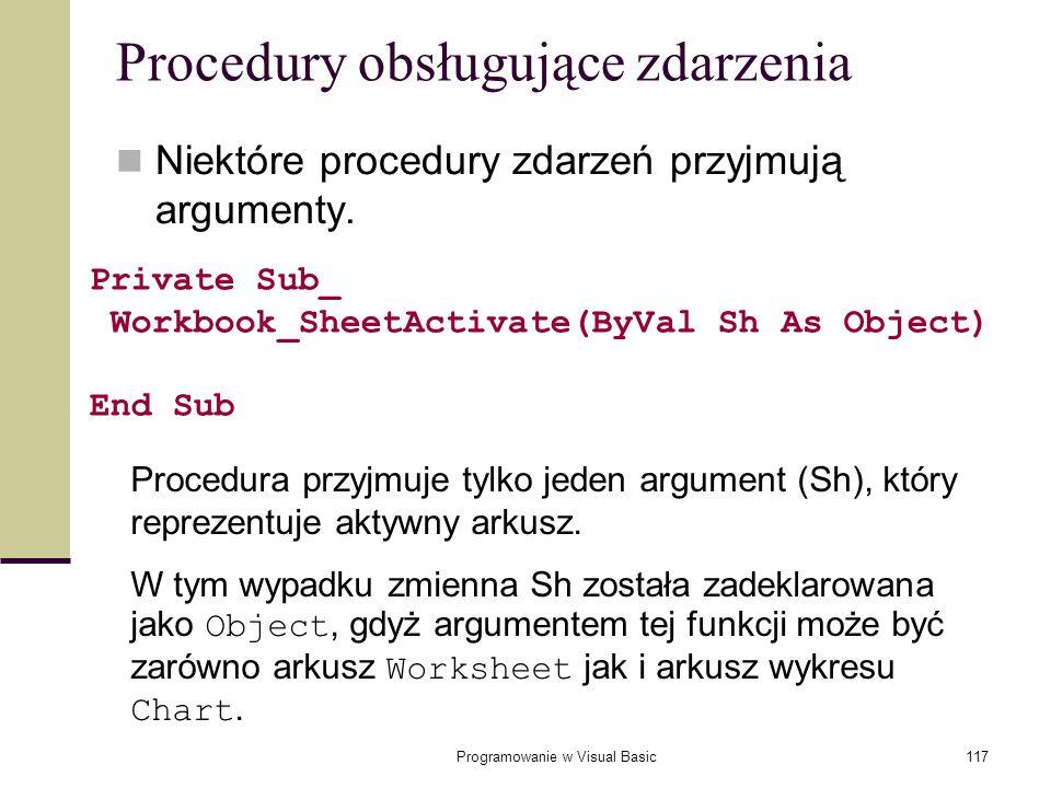 Procedury obsługujące zdarzenia