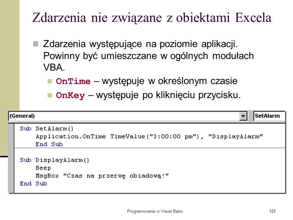 Zdarzenia nie związane z obiektami Excela