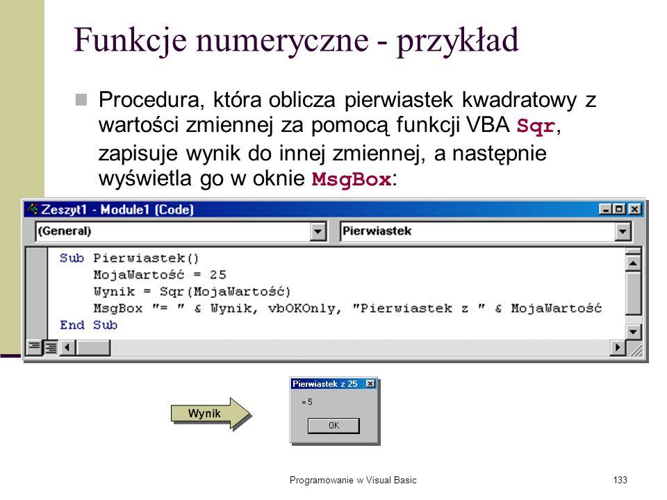 Funkcje numeryczne - przykład