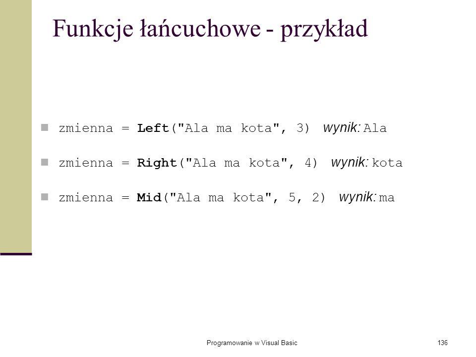 Funkcje łańcuchowe - przykład