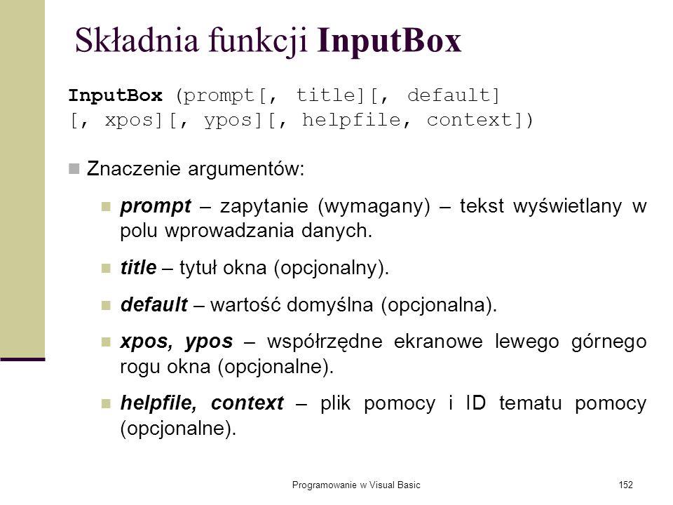 Składnia funkcji InputBox