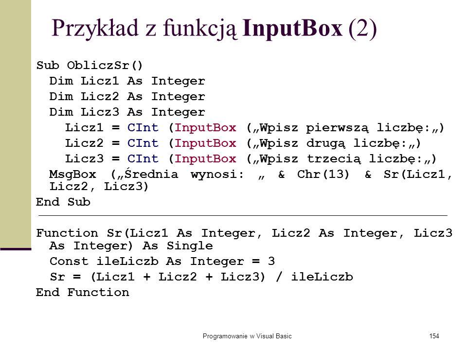 Przykład z funkcją InputBox (2)