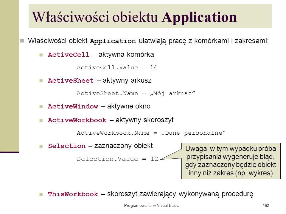 Właściwości obiektu Application