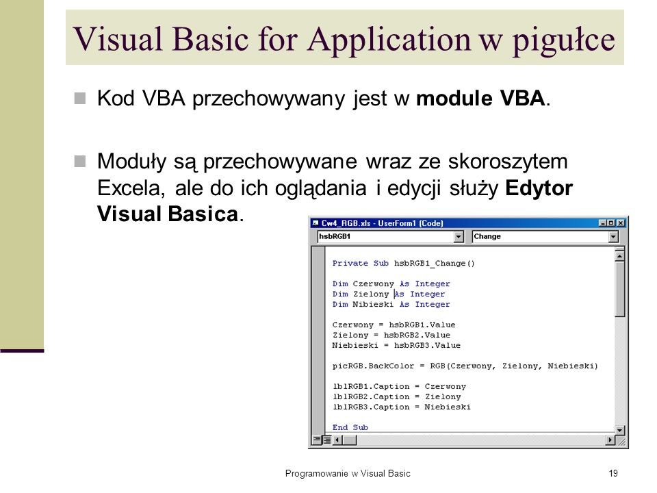 Visual Basic for Application w pigułce
