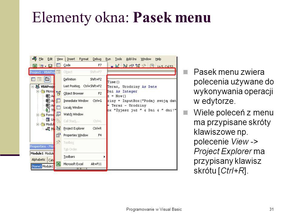 Elementy okna: Pasek menu