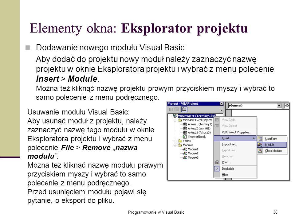 Elementy okna: Eksplorator projektu