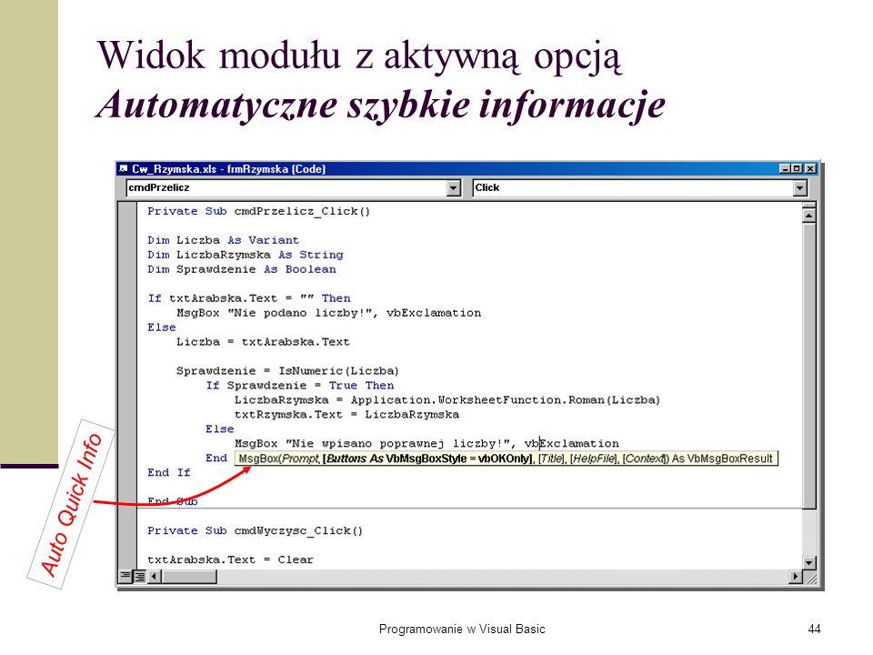 Widok modułu z aktywną opcją Automatyczne szybkie informacje