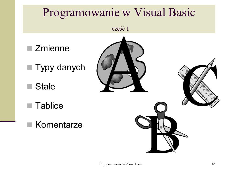Programowanie w Visual Basic część 1