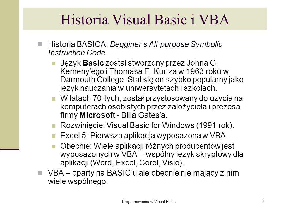 Historia Visual Basic i VBA