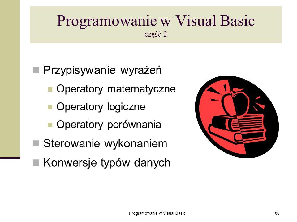 Programowanie w Visual Basic część 2